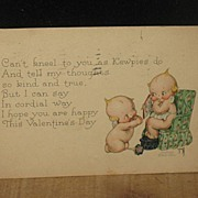 REDUCED Postmarked 1925 Signed Kewpies Valentine Postcard