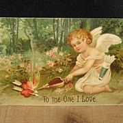 REDUCED Postmarked 1908 German Embossed Cupid Valentine Postcard