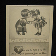 REDUCED Unused Signed Wall Black and White Valentine Postcard