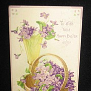 REDUCED Postmarked 1911 Embossed Easter Postcard