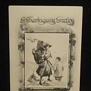 REDUCED Postmarked 1912 Black and White Thanksgiving Postcard