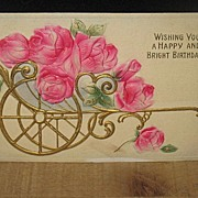 REDUCED Dated 1912 German Made Heavily Embossed Birthday Postcard