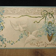 REDUCED Postmarked 1909 German Printed with Doves Postcard