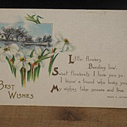 REDUCED Postmarked 1915 Linen Style Best Wishes Postcard