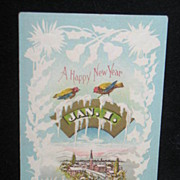 REDUCED Marked Jan.1913 Happy New Year Postcard