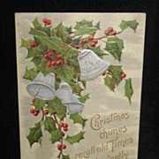 REDUCED Postmarked 1908 Embossed Christmas Postcard
