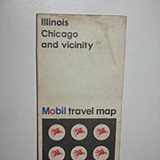 REDUCED 1968 Mobil Travel Map of Illinois Chicago and Vicinity