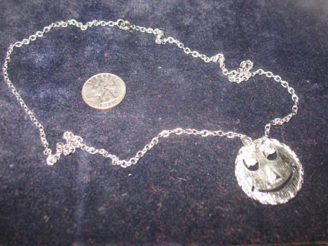 1960's Silver-toned Colored Happy Face Necklace