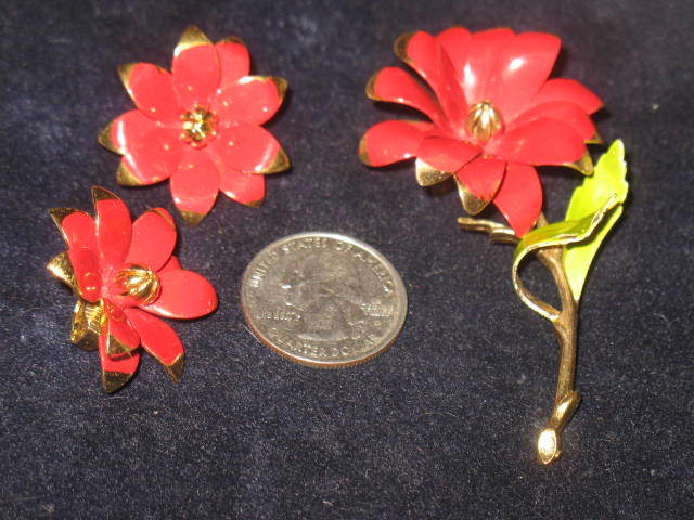 Enameled Red Flower Pin with Matching Earrings
