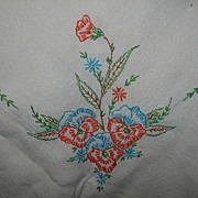 Never Used Embroidered Linen Table Clothe With Orange and Blue Pansies