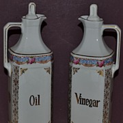 Marked Epiag DF Czechoslovakian Oil and Vinegar Cruet Set