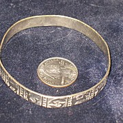 Marked Taxco Mexico Silvertone Bangle Bracelet with Horoscope Signs