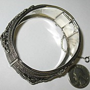 Marked Pamar Silver-toned Hinged Bracelet