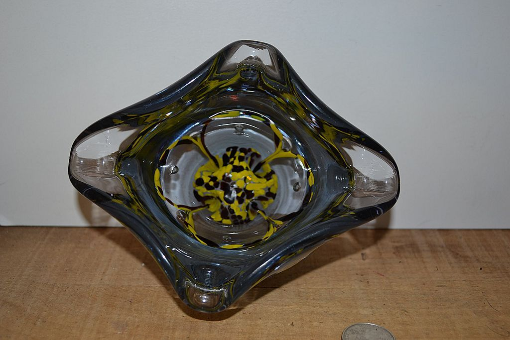 Hand Blown Paper Weight Style Ashtray