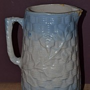 Basketweave and Morning Glory Stoneware Pitcher