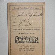 Account Payment Book for Snaders Credit Clothing Milwaukee WI 1941
