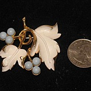 SALE Marked Sarah Coventry Enameled Pin with White Leaves and Blue Berries