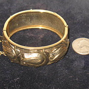 SALE Unmarked Gold-toned Colored Hinged Bracelet with Safety Chain