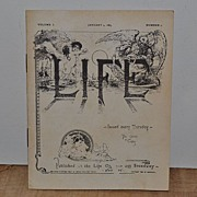 SALE January 4,1883 Vol. 1 #1 Life Booklet 1st Issue