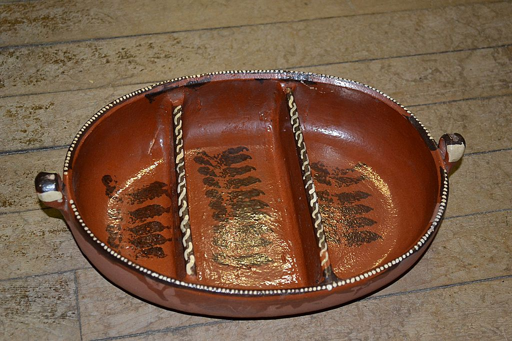 Mexican Redware 3 Part Baker or Relish Bowl.
