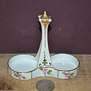 SALE Hand Painted Nippon Salt and Pepper Holder with Roses