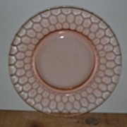 "SALE Pink Depression ""Hex Optic"" Honeycomb Lunch Plate By Jeannette Glass"