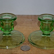 SALE Set of Green Depression Candlestick Holders
