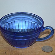 "SALE ""Aurora"" Cobalt Depression Glass Cup by Hazel Atlas"
