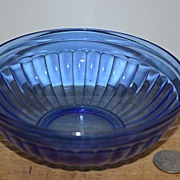 "SALE ""Aurora"" Cobalt Depression Glass Cereal Bowl by Hazel Atlas"