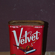 SALE Velvet Pipe and Cigarette Tobacco Pocket Size Tin
