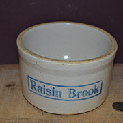 SALE Vintage Stoneware Dog Bowl Marked Raisin Brook on the Outside