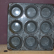 SALE Grey Mottled Graniteware 9 Hole Muffin Tin