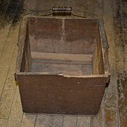 SALE Large Brown Painted Wood Box with Bail Handle