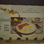 SALE Vintage 1950's Highland Select Egg Carton