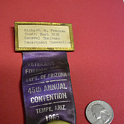 SALE 1965 Arizona VFW Convention ID Ribbon Pin