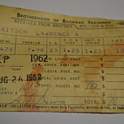 1962 Brotherhood of Railroad Trainmen Labor Union Dues Receipt