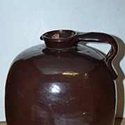 Unmarked Brown Stoneware 1 Gallon Syrup Jug