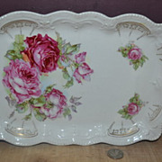 Unmarked Transferware Dresser Tray with Roses