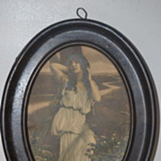 Vintage Tin Frame with Lady