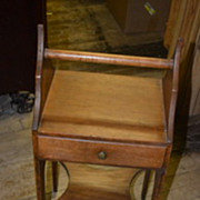 Small Wooden Stand with a Center Handle and Pull Out Drawer