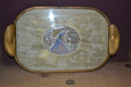 Glass over Celluloid Dresser Tray