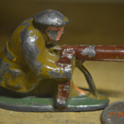 Toy Lead Soldier Kneeling with Machine Gun Unmarked