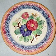 Japan Majolica Hand Painted Bread Plate
