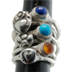 .999 Fine Silver Gemstone and Silver Menagerie Rings