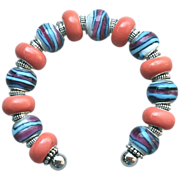 Striped Lampwork and Coral Porcelain Bangle