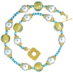 Murano 24k Gold Foil and Myuki Crystal, Natural CampitosTurquoise, Shell Pearl, and 24k Gold Vermeil Necklace
