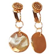 24k Gold Fired over Copper Coin Athena Clip-On Earrings