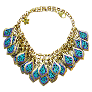"Hand Patinaed Gold-Tone Peacock ""Feather"" Necklace"