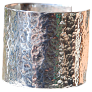 "SALE Fine Silver Hammered 2"" Wide Cuff"