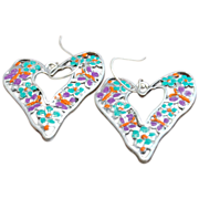 Hand-patinaed Crazy Heart Earrings